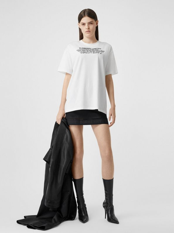 Location Print Cotton Oversized T-shirt in White