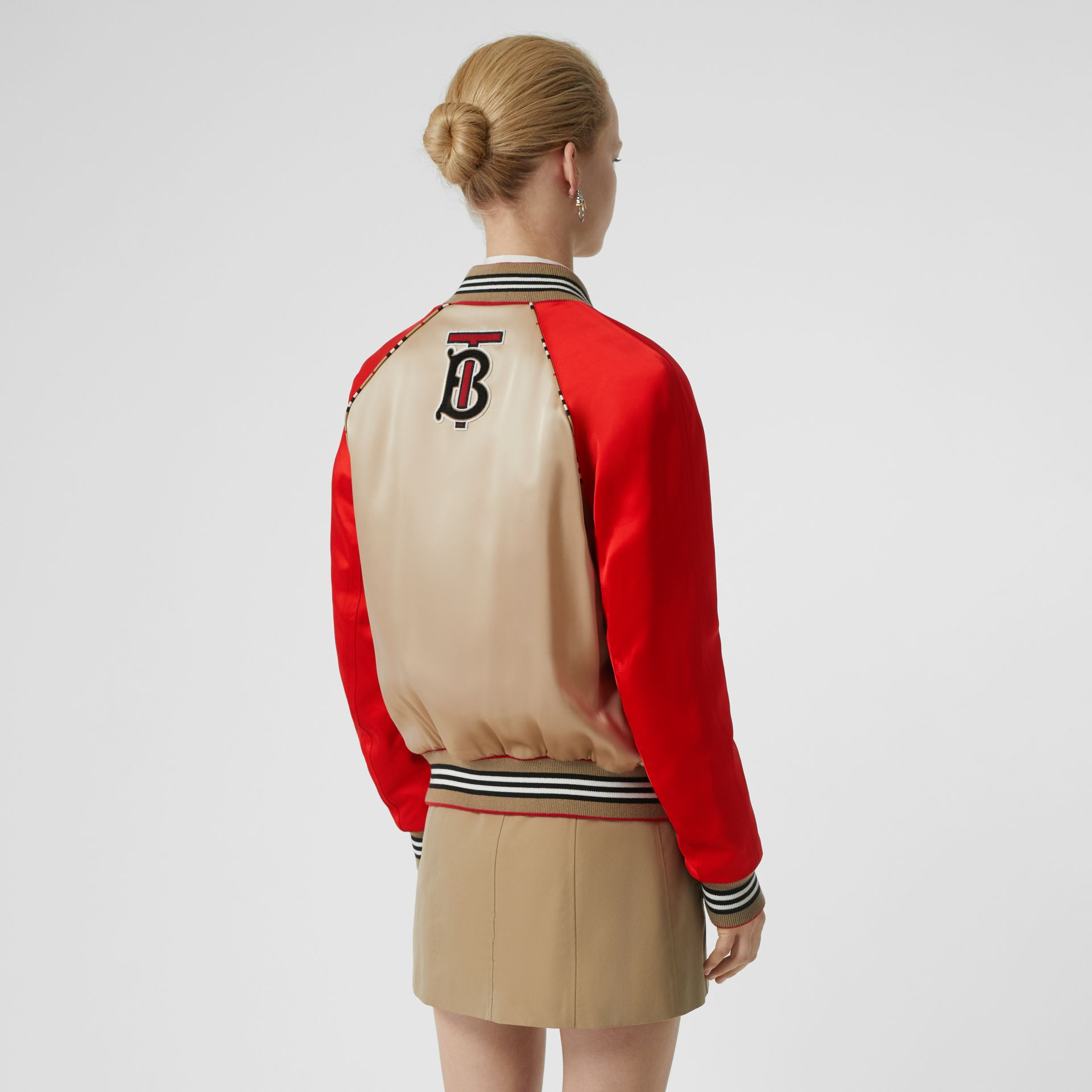 Icon Stripe Detail Monogram Motif Bomber Jacket in Honey/red - Women | Burberry - gallery image 2