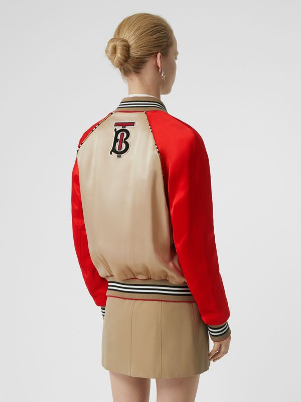 Icon Stripe Detail Monogram Motif Bomber Jacket in Honey/red - Women | Burberry - cell image 2