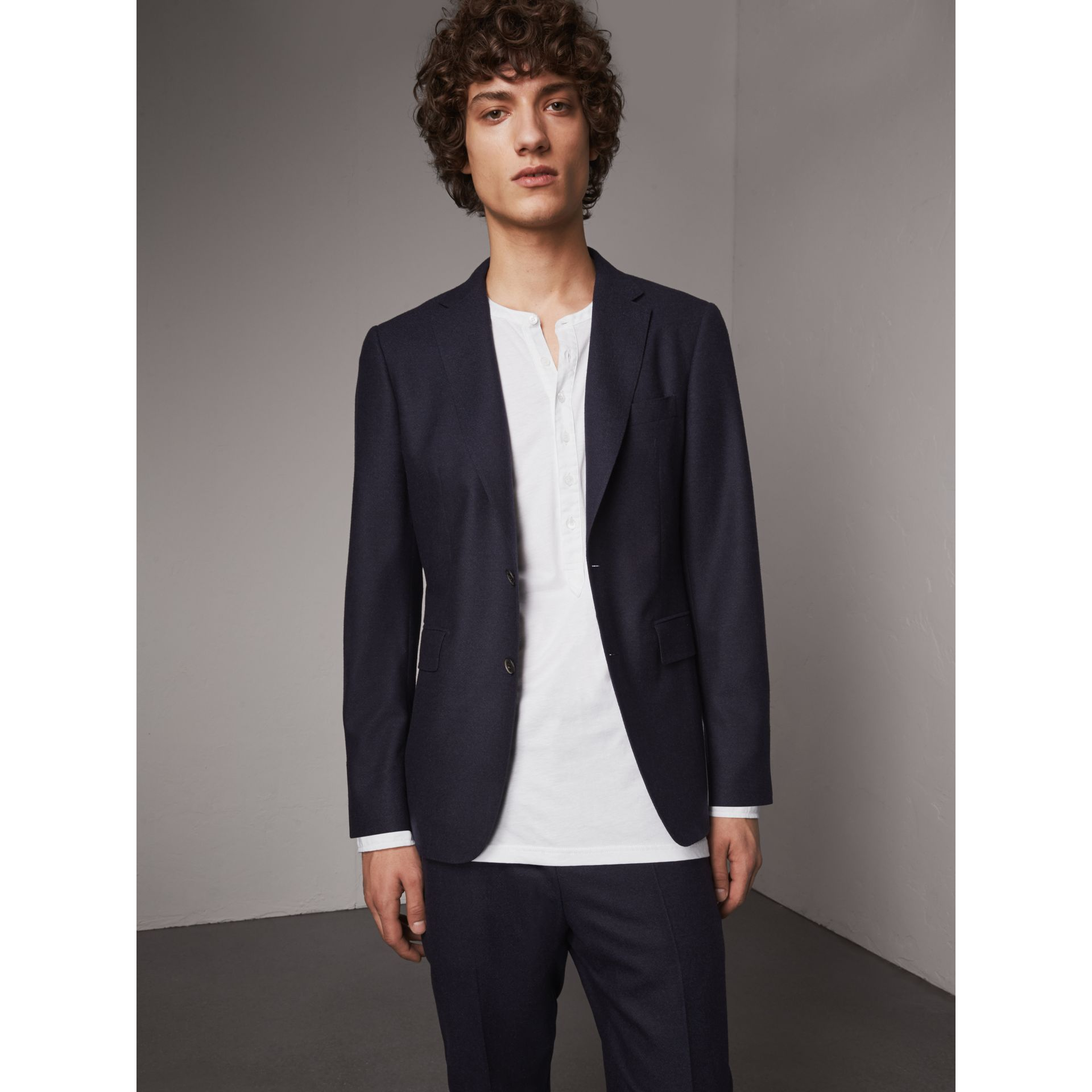 Soho Fit Wool Flannel Suit in Navy Melange - Men | Burberry Australia - gallery image 7