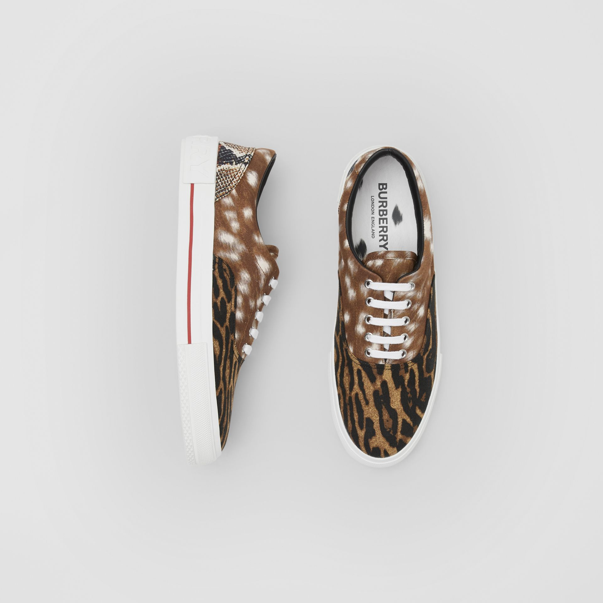 Animal Print Cotton Canvas Sneakers in Honey - Men | Burberry United Kingdom - gallery image 0