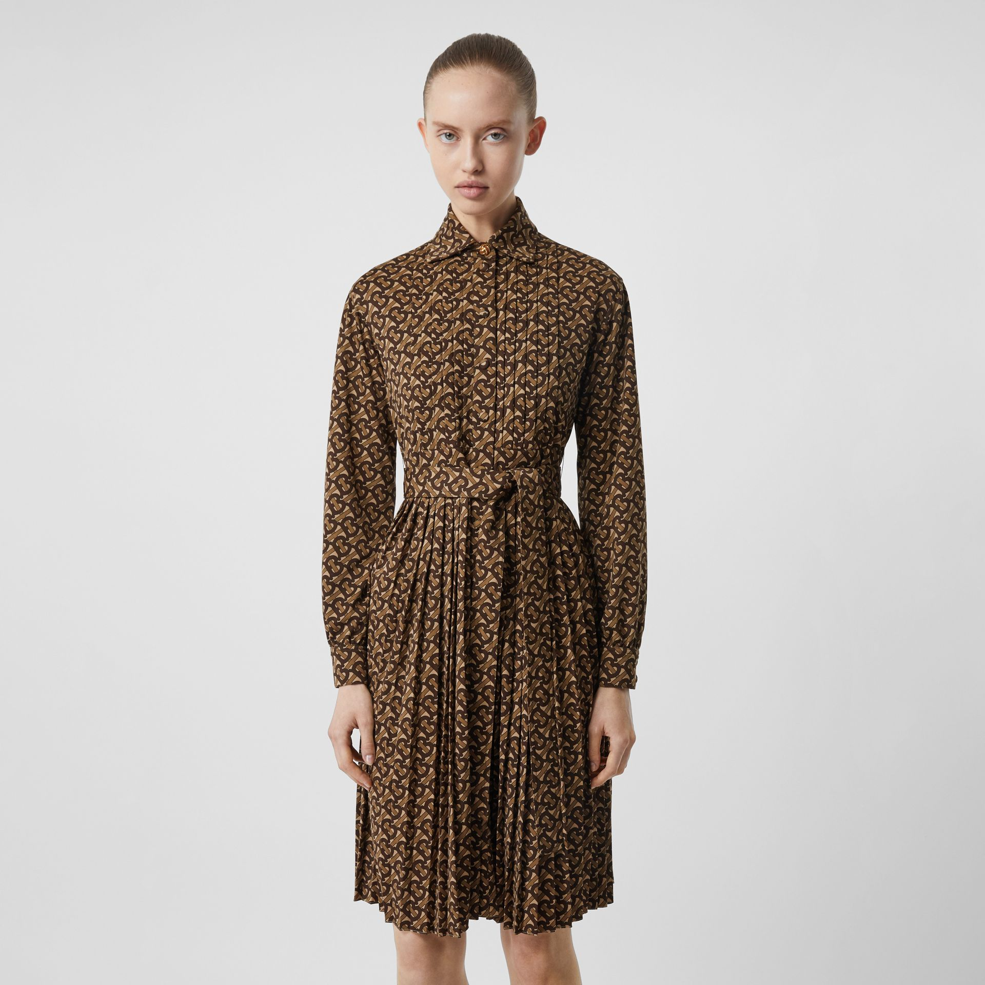 Pleated Monogram Print Jersey Tie-waist Shirt Dress in Bridle Brown - Women | Burberry - gallery image 5