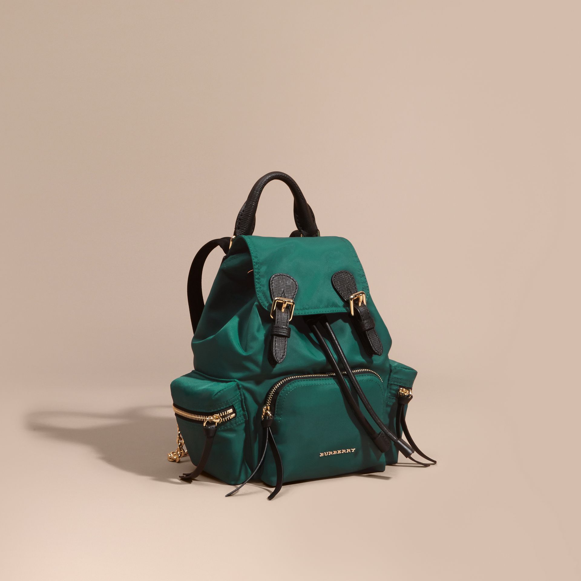 The Small Rucksack in Technical Nylon and Leather Pine Green - gallery image 1