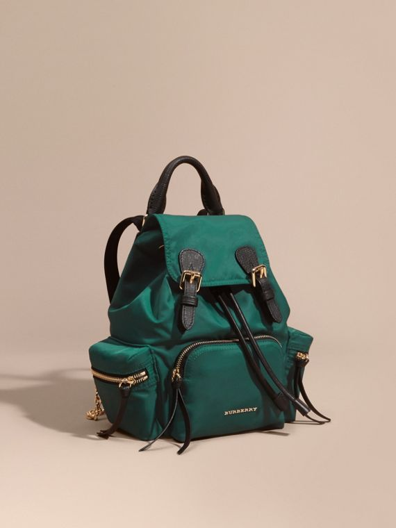 The Small Rucksack in Technical Nylon and Leather in Pine Green