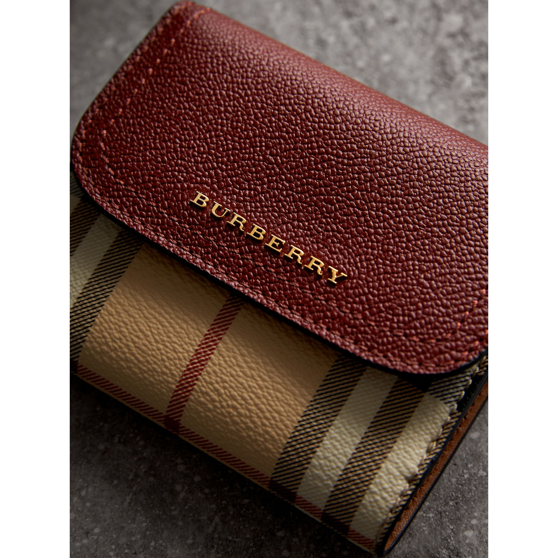 Haymarket Check and Leather Wallet in Burgundy/multicolour - Women | Burberry - gallery image 4