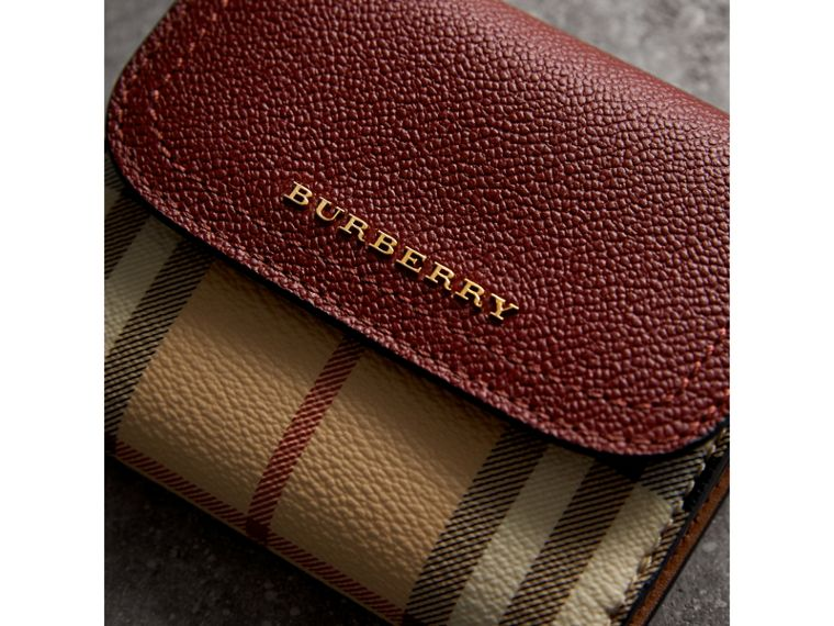 Haymarket Check and Leather Wallet in Burgundy/multicolour - Women | Burberry - cell image 4