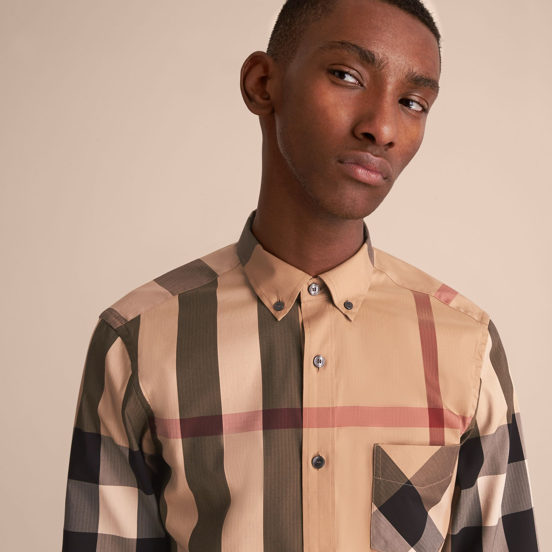 Button-down Collar Check Stretch Cotton Blend Shirt Camel - gallery image 5