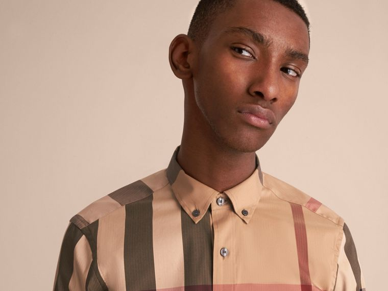 Button-down Collar Check Stretch Cotton Blend Shirt Camel - cell image 4