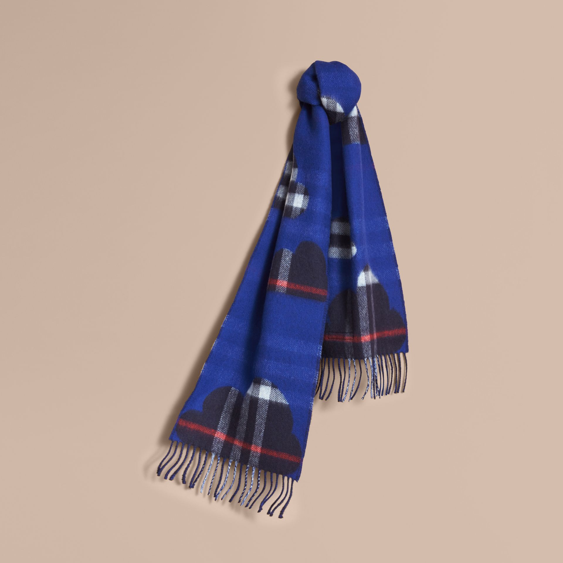 Reversible Weather Pattern Check Cashmere Mini Scarf in Bright Cobalt | Burberry United Kingdom - gallery image 1