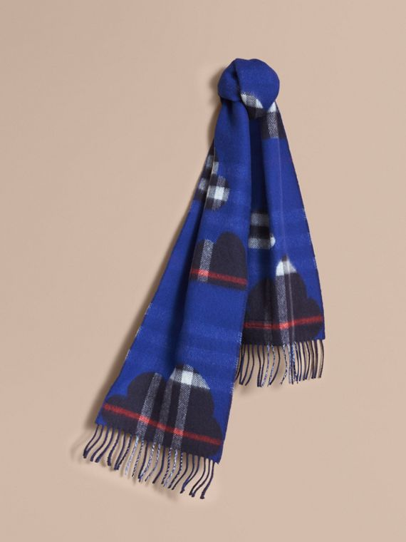 Reversible Weather Pattern Check Cashmere Mini Scarf in Bright Cobalt