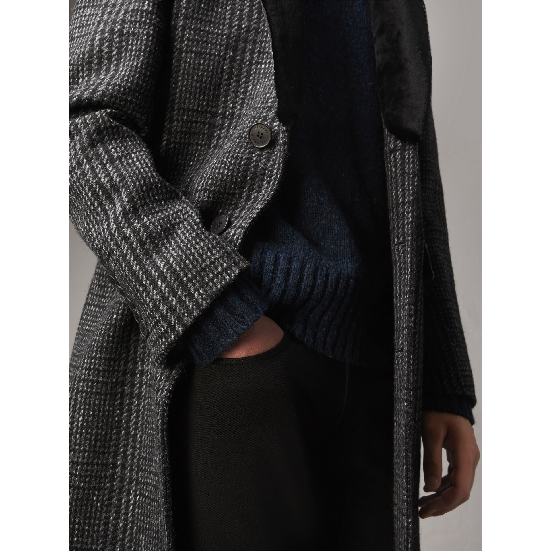 Detachable Mink Collar Check Wool Tailored Coat in Charcoal - Men | Burberry - gallery image 4