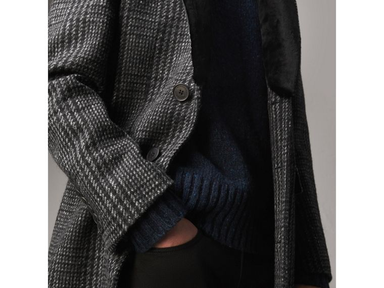 Detachable Mink Collar Check Wool Tailored Coat in Charcoal - Men | Burberry Australia - cell image 4