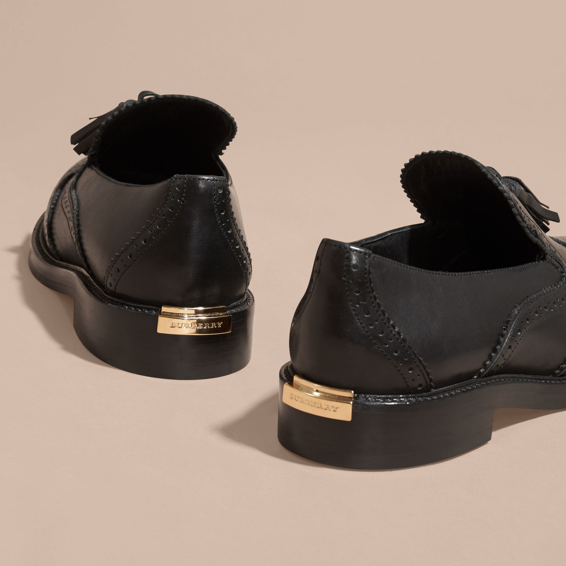 Black Leather Tassel Loafers Black - gallery image 4