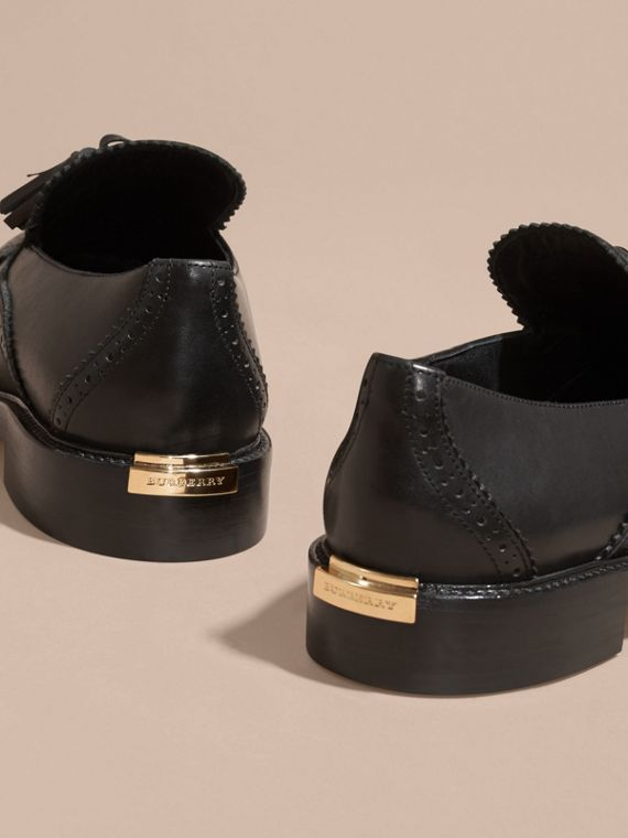 Black Leather Tassel Loafers Black - cell image 3