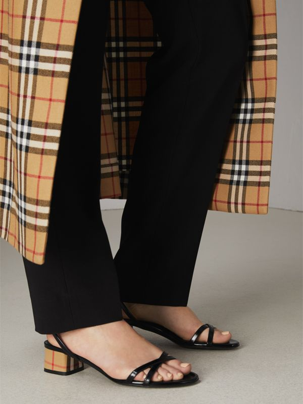Tartan and Patent Leather Block-heel Sandals in Black - Women | Burberry - cell image 2