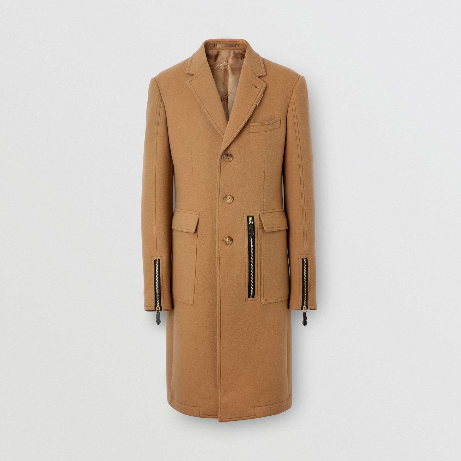 Zip Detail Wool Tailored Coat in Warm Camel - Men | Burberry Singapore - gallery image 3