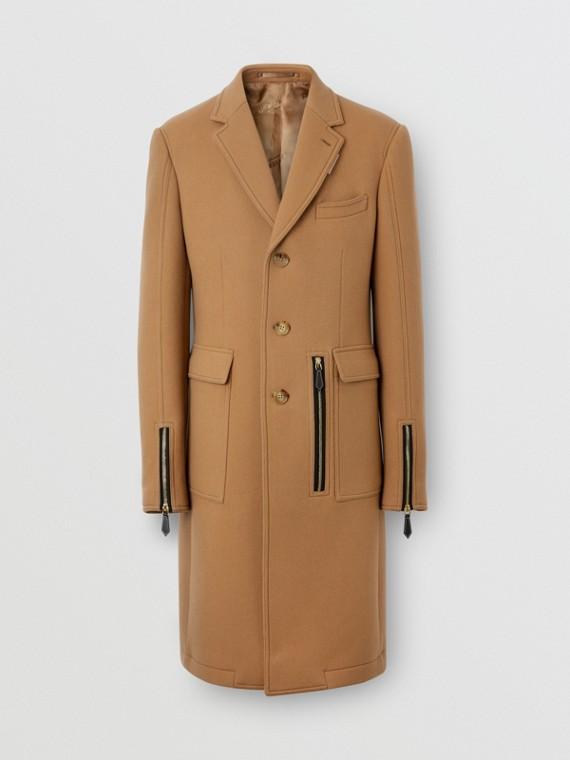 Zip Detail Wool Tailored Coat in Warm Camel