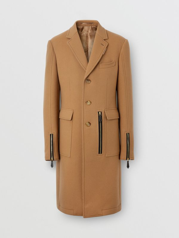 Zip Detail Wool Tailored Coat in Warm Camel - Men | Burberry Singapore - cell image 3