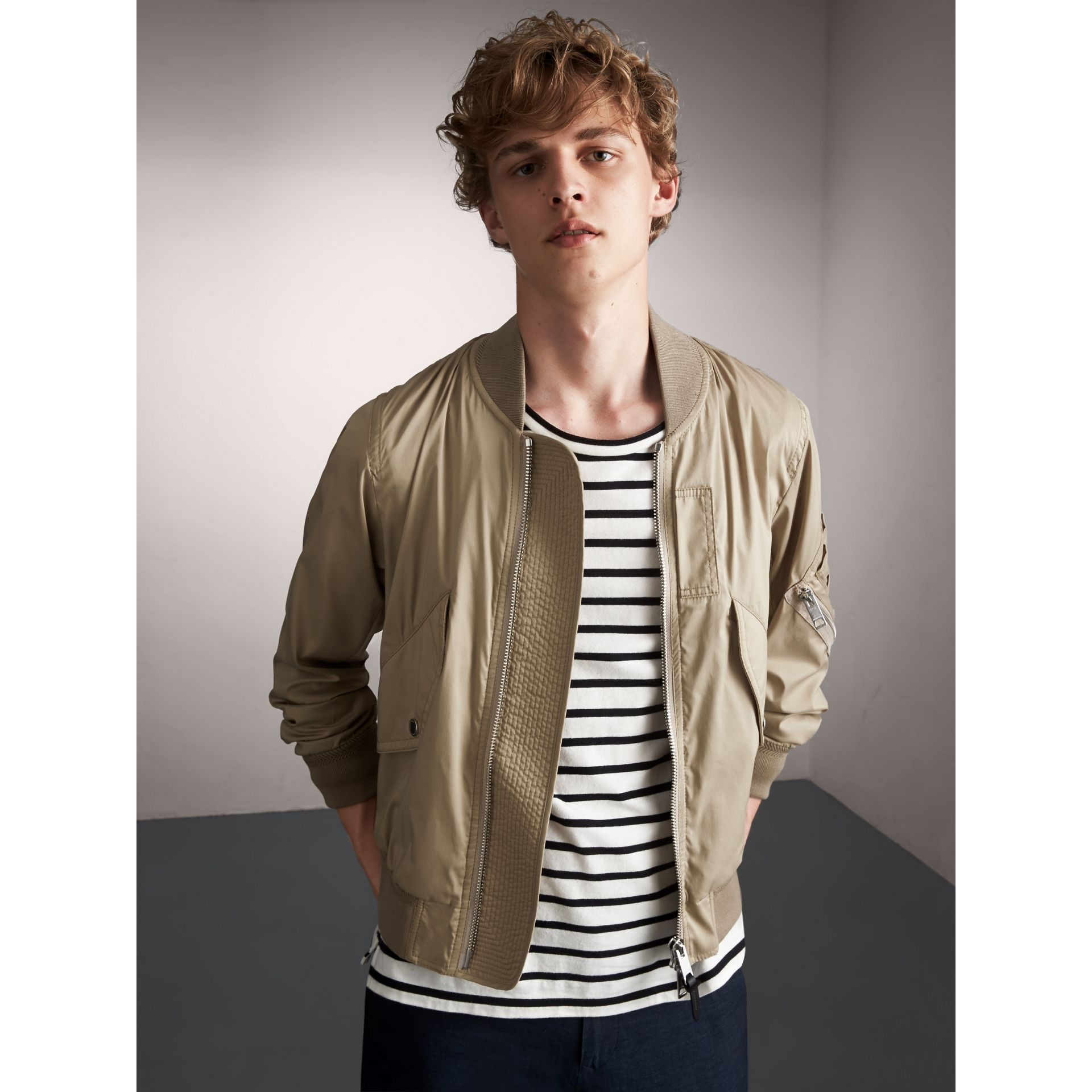 Cotton Blend Twill Bomber Jacket in Taupe - Men | Burberry - gallery image 1