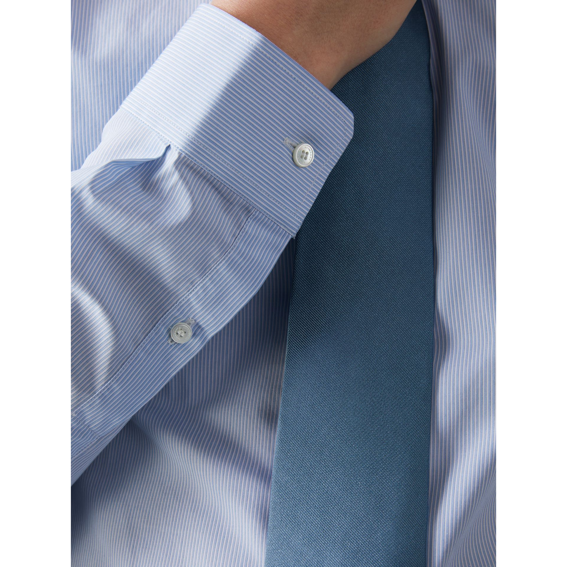 Slim Fit Striped Cotton Poplin Shirt in City Blue - Men | Burberry - gallery image 1