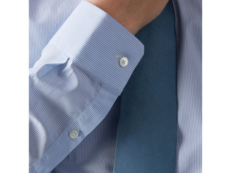 Slim Fit Striped Cotton Poplin Shirt in City Blue - Men | Burberry Singapore - cell image 1