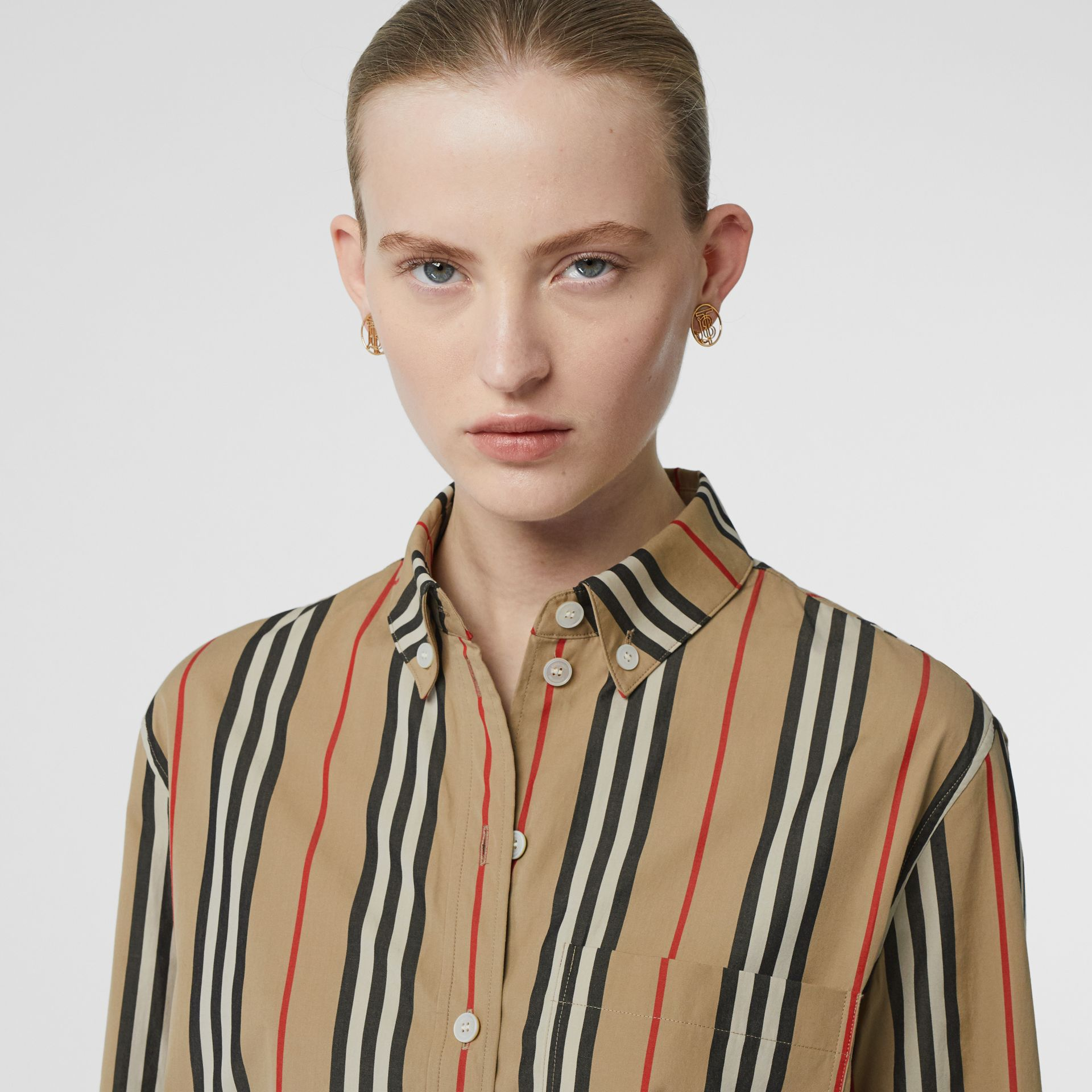 Button-down Collar Icon Stripe Cotton Shirt in Archive Beige - Women | Burberry Hong Kong - gallery image 1