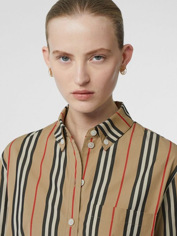 Button-down Collar Icon Stripe Cotton Shirt in Archive Beige