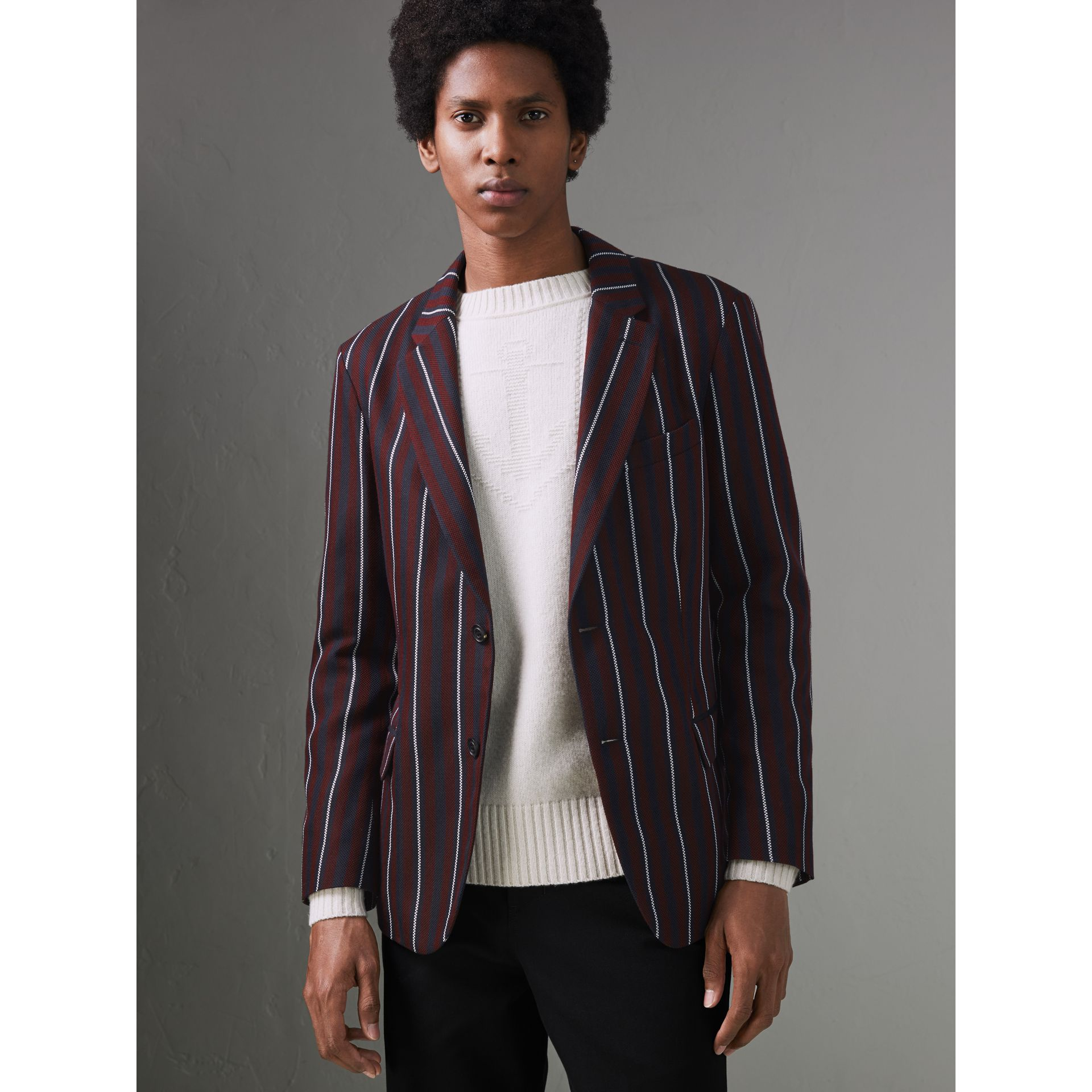 Slim Fit Striped Wool Silk Blazer in Burgundy - Men | Burberry Singapore - gallery image 4