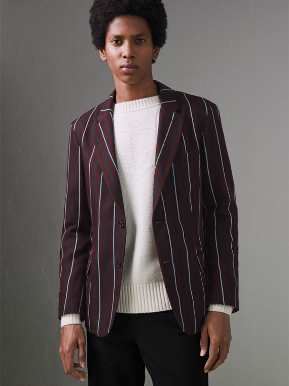 Slim Fit Striped Wool Silk Blazer in Burgundy