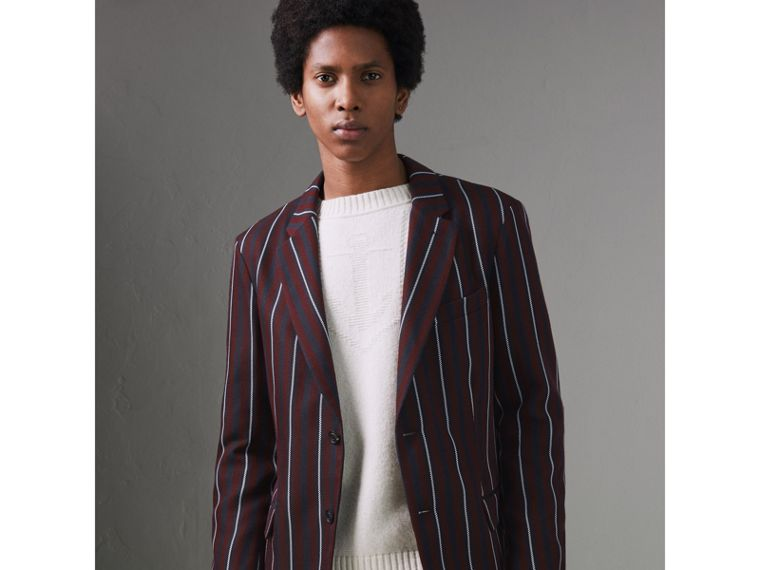 Slim Fit Striped Wool Silk Blazer in Burgundy - Men | Burberry - cell image 4