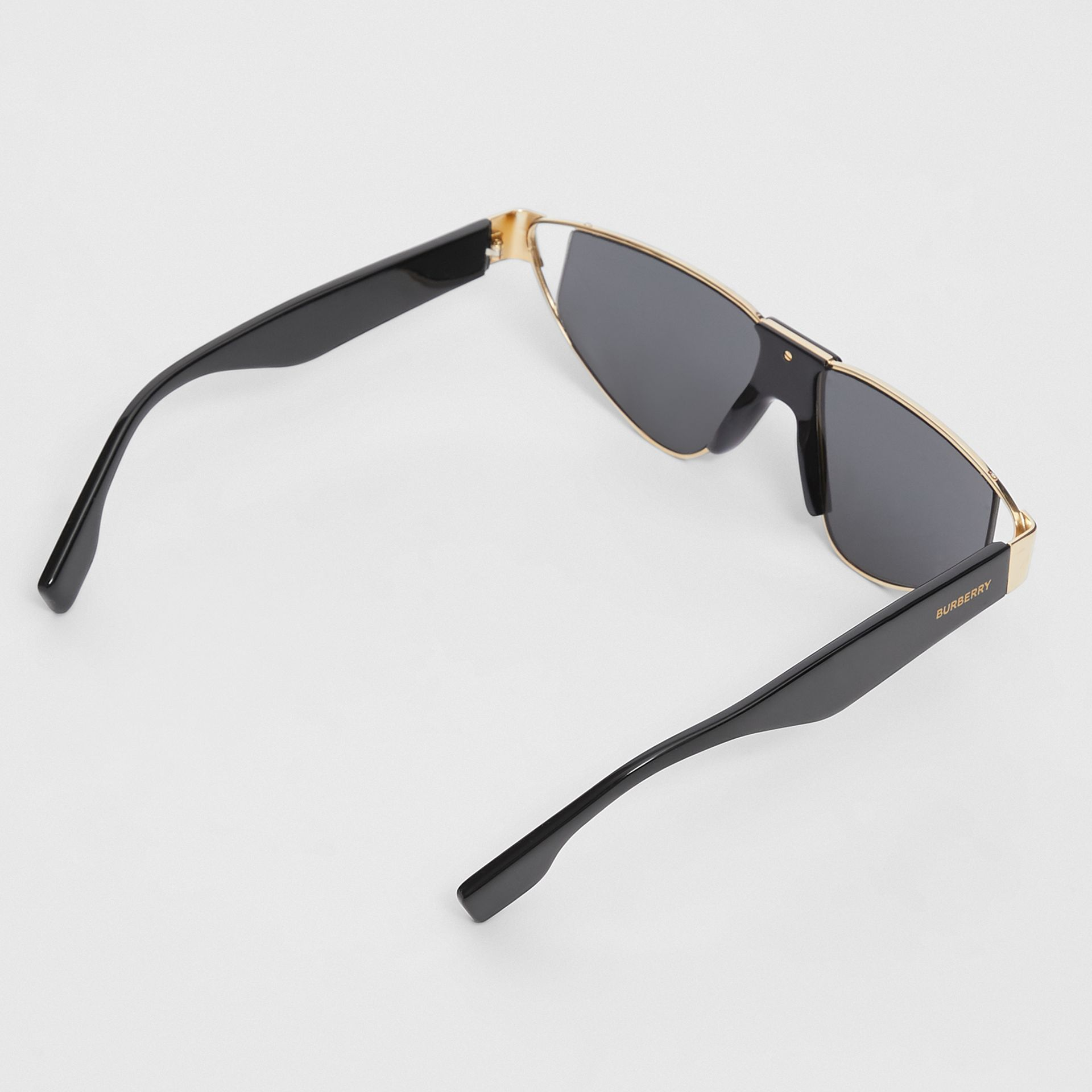 Gold-plated Triangular Frame Sunglasses in Black | Burberry Australia - gallery image 4