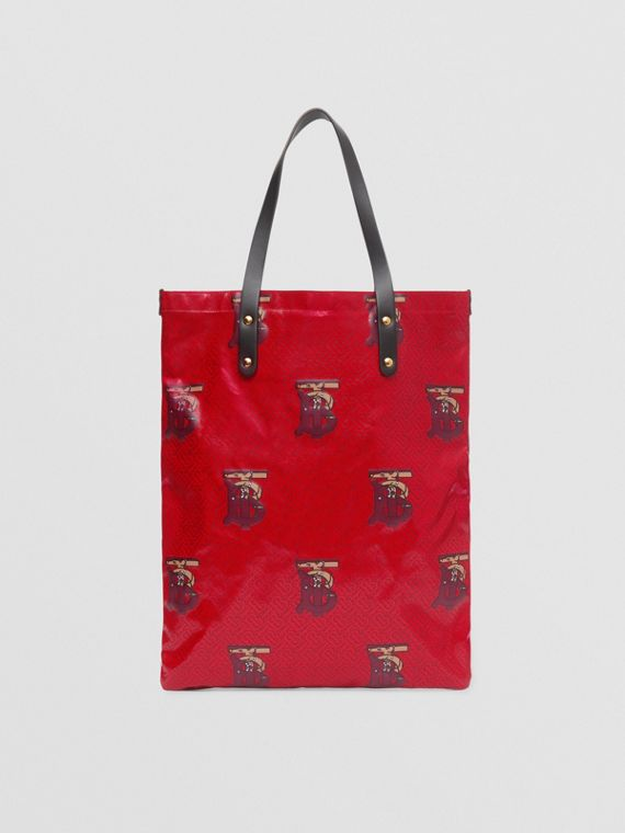 Monogram Motif Coated Canvas Tote Bag in Bright Red/burgundy