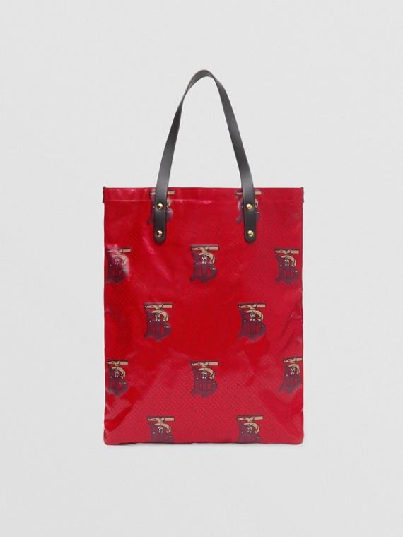 Bolso tote en lona revestida con motivo de monogramas (Rojo Intenso/borgoña)