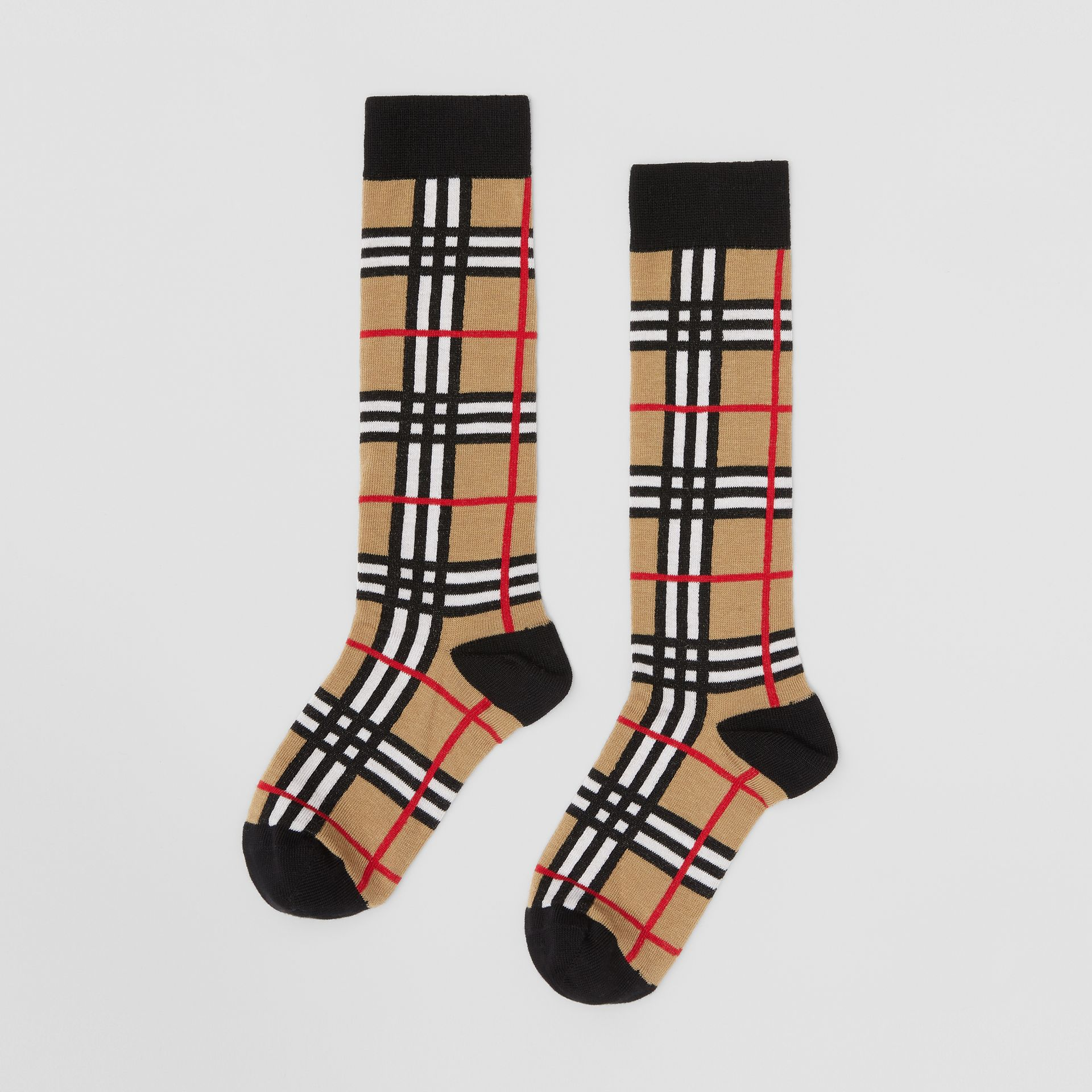 Check Intarsia Cotton Blend Socks in Archive Beige - Children | Burberry - gallery image 2