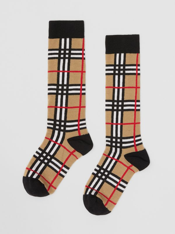 Check Intarsia Cotton Blend Socks in Archive Beige - Children | Burberry - cell image 2