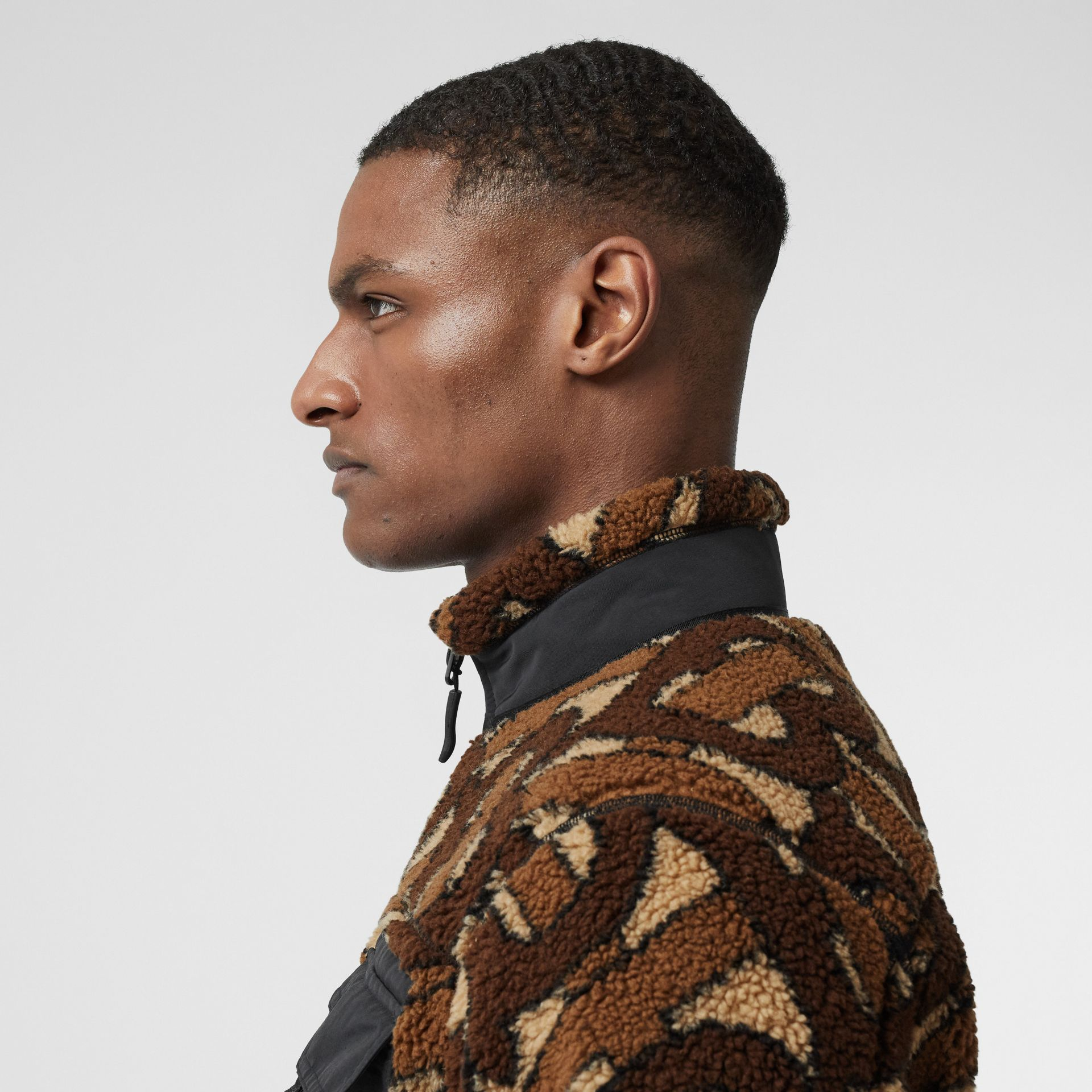 Monogram Fleece Jacquard Jacket in Bridle Brown - Men | Burberry - gallery image 4