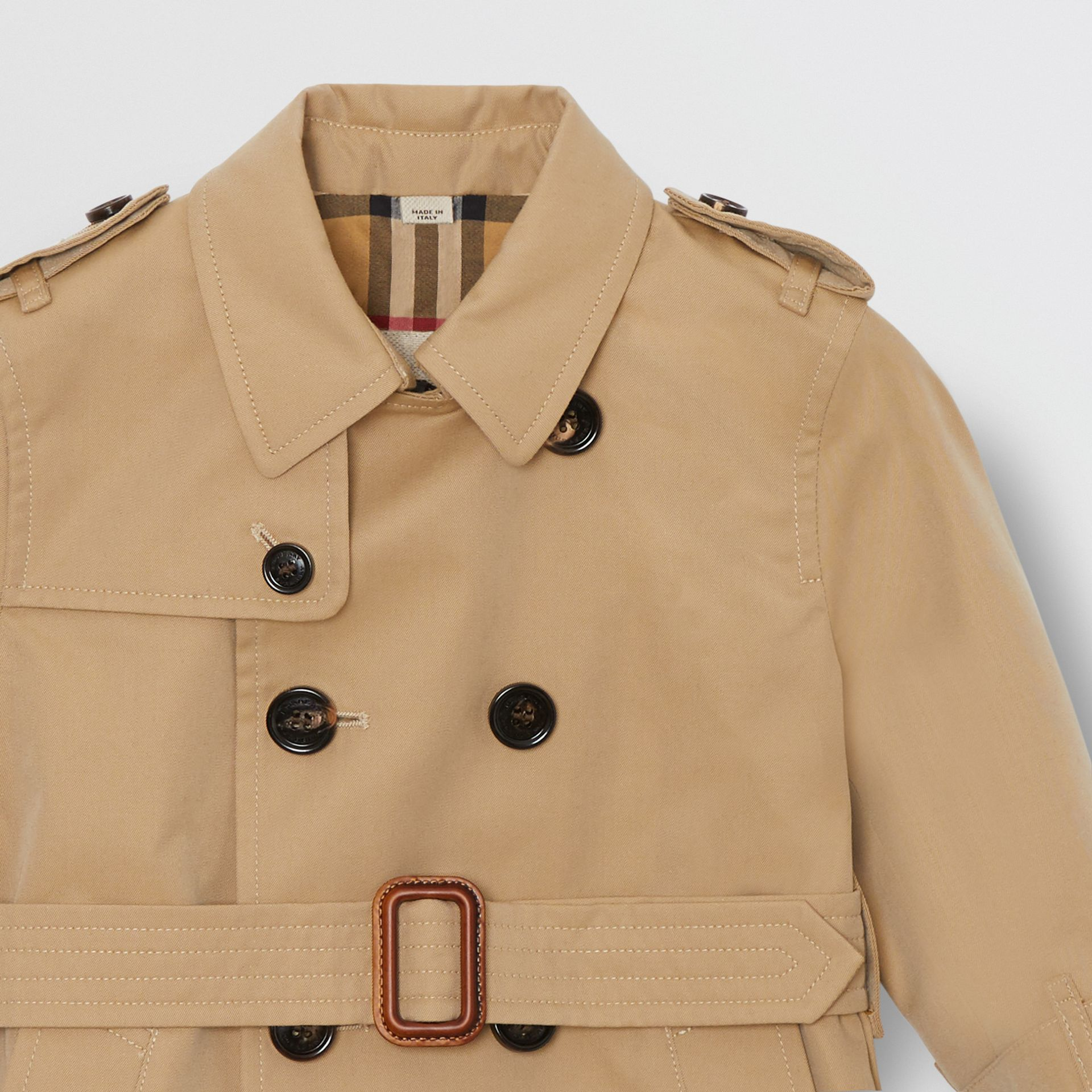 Cotton Gabardine Trench Coat in Honey - Children | Burberry Australia - gallery image 4