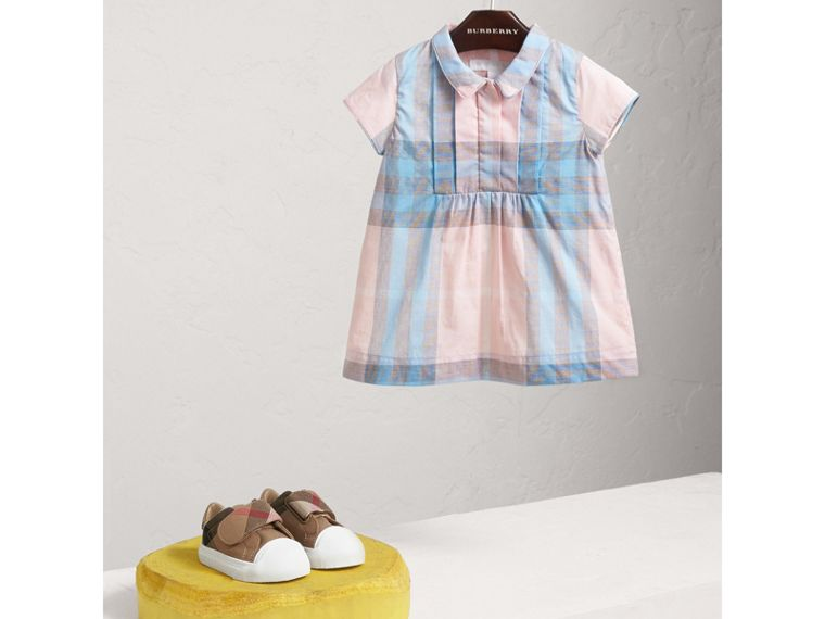 Pleated Bib Check Cotton Dress in Ice Pink | Burberry Singapore - cell image 1