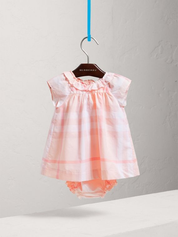 Check Cotton Poplin Dress with Bloomers in Ice Pink | Burberry Singapore - cell image 2