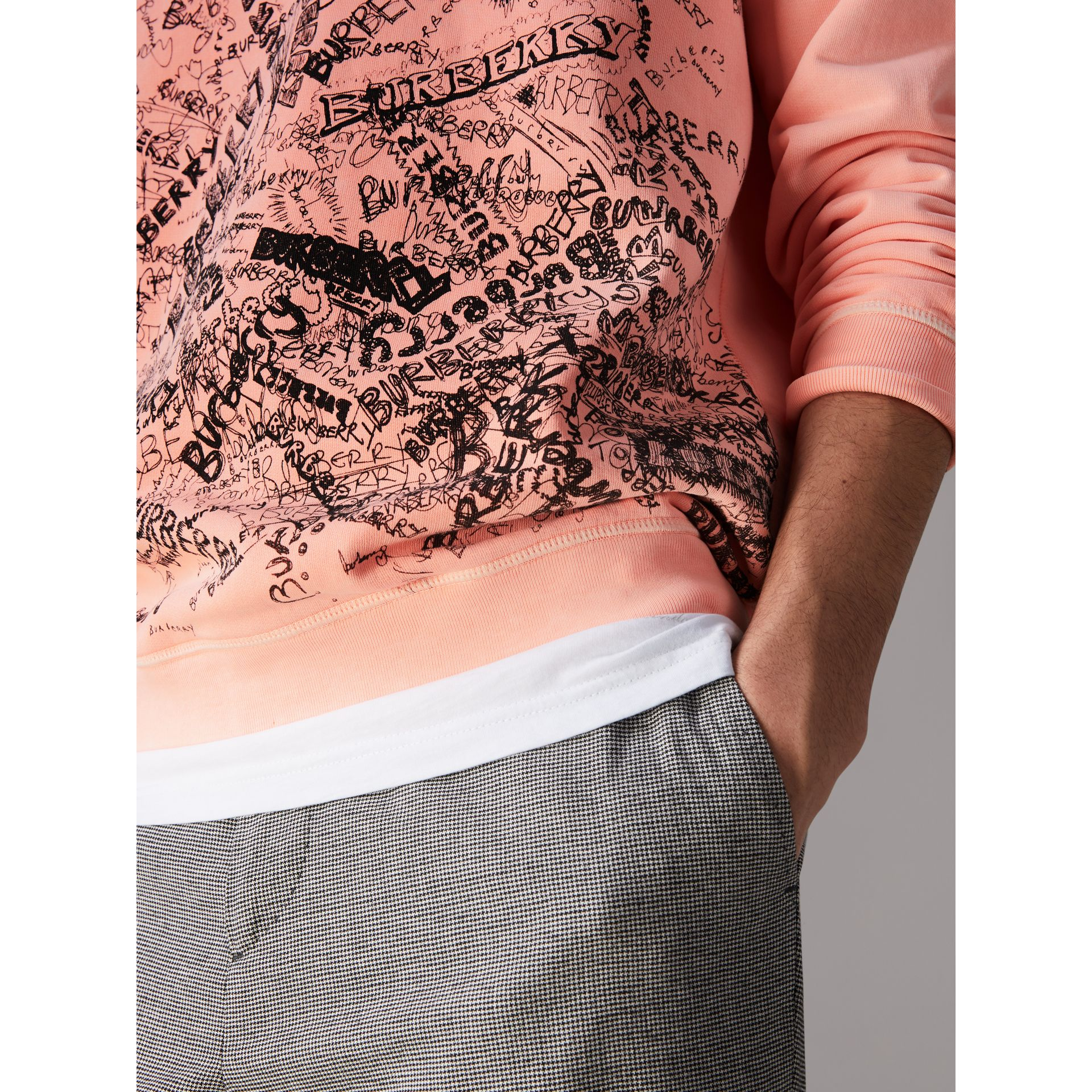 Doodle Print Cotton Sweater in Bright Clementine - Men | Burberry United Kingdom - gallery image 1