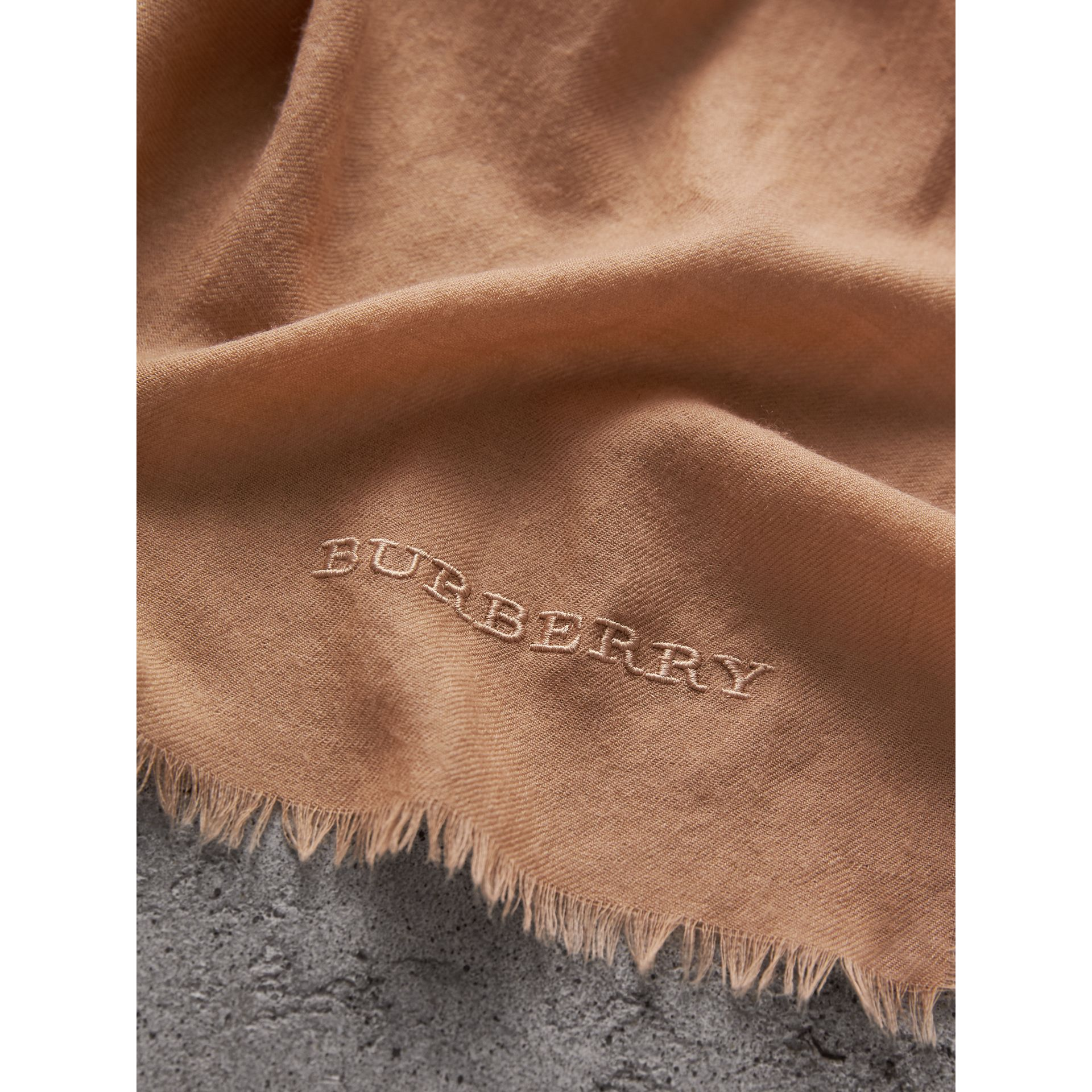 The Lightweight Cashmere Scarf in Camel | Burberry - gallery image 4