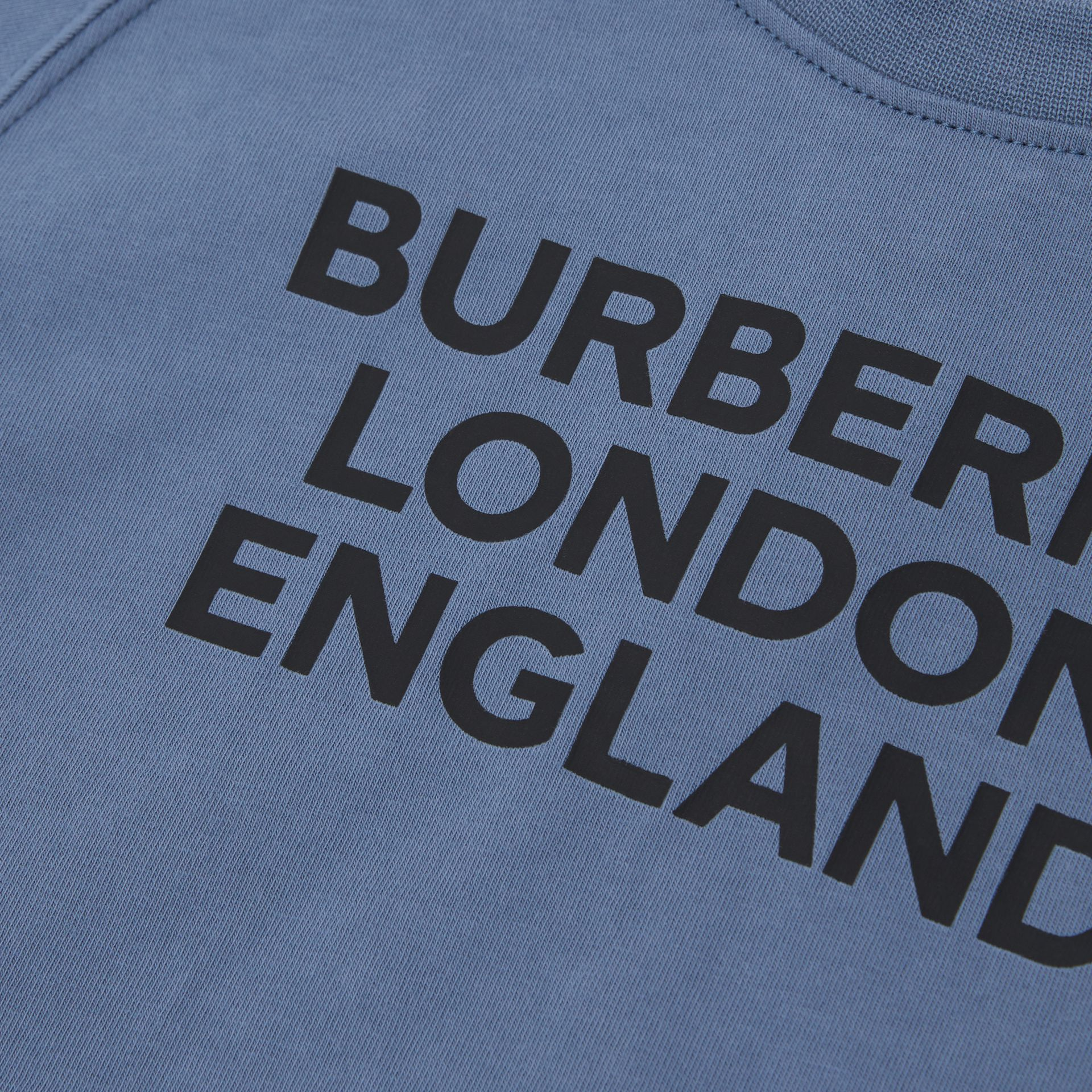 Long-sleeve Logo Print Cotton Top in Steel Blue - Children   Burberry United Kingdom - gallery image 1