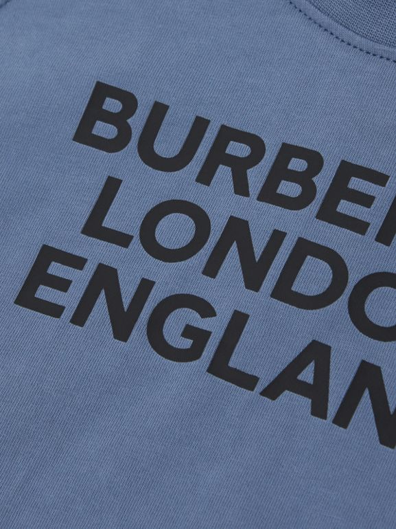 Long-sleeve Logo Print Cotton Top in Steel Blue - Children   Burberry United Kingdom - cell image 1