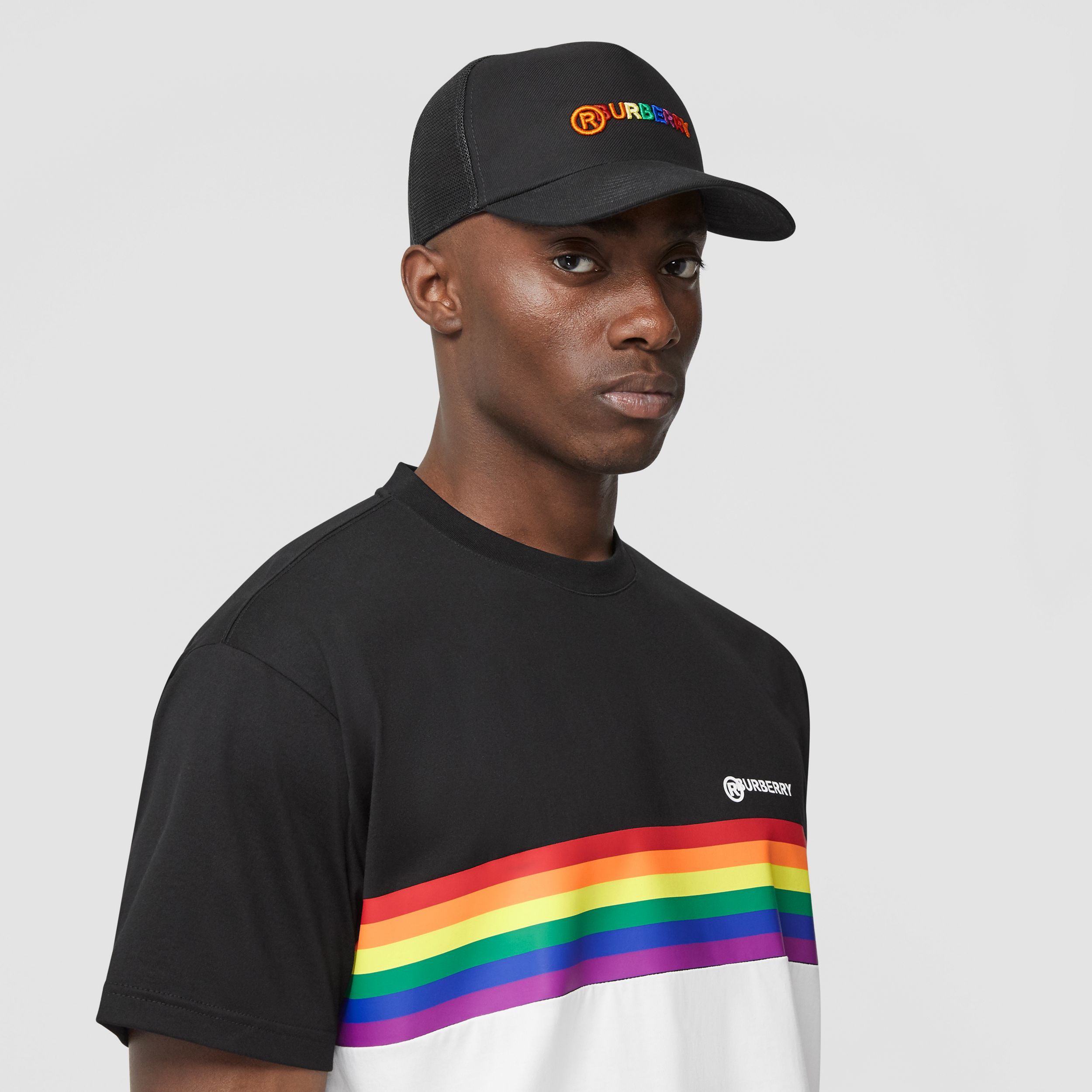 Rainbow Logo Baseball Cap in Black | Burberry - 4