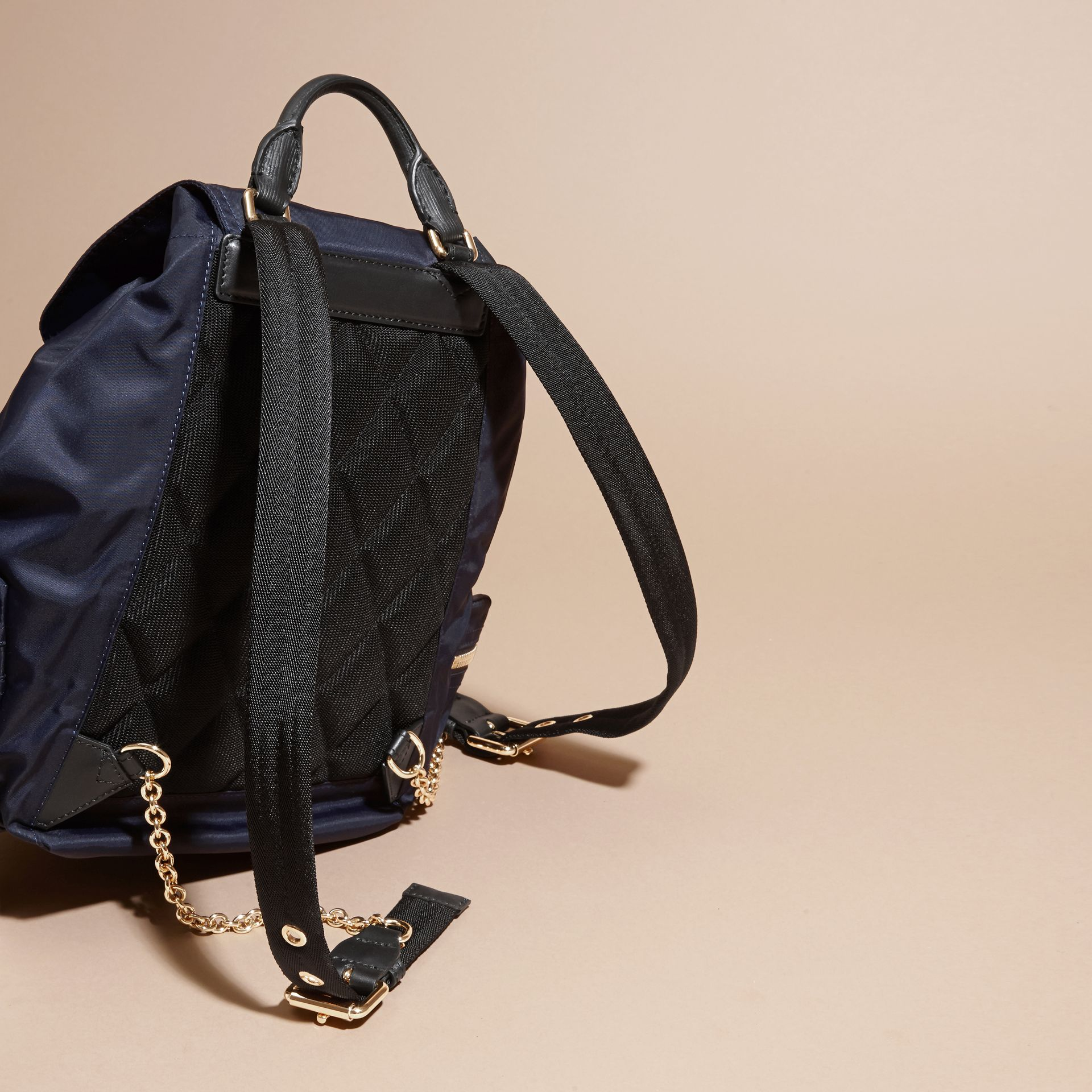 The Medium Rucksack in Technical Nylon and Leather in Ink Blue - gallery image 4