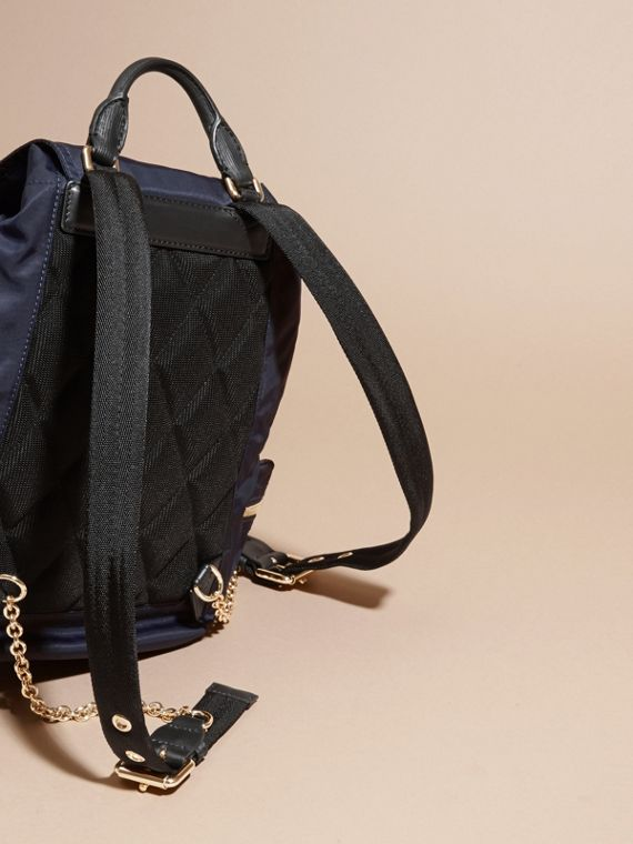 The Medium Rucksack in Technical Nylon and Leather in Ink Blue - cell image 3