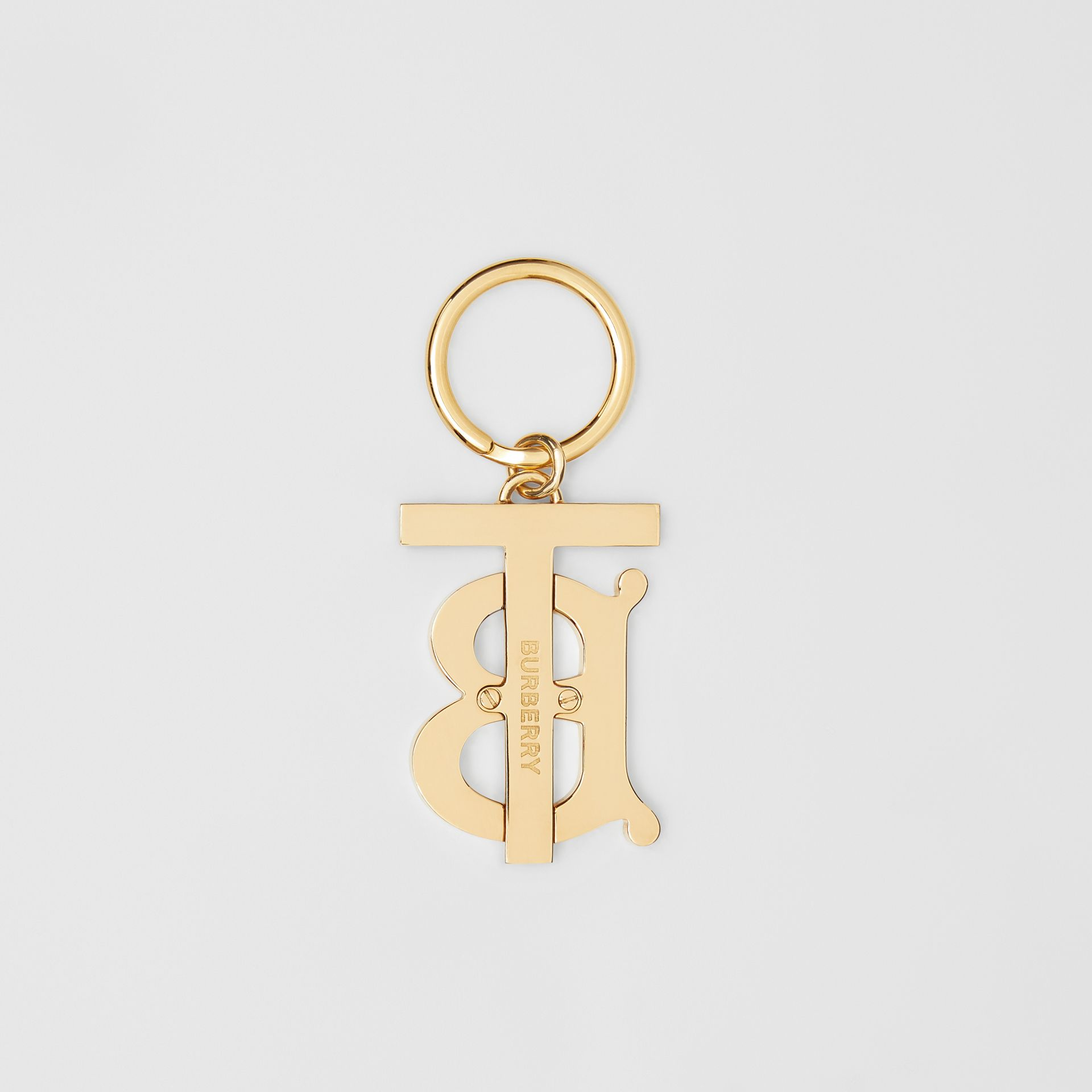 Monogram Motif Gold-plated Key Charm in Black - Women | Burberry - gallery image 2