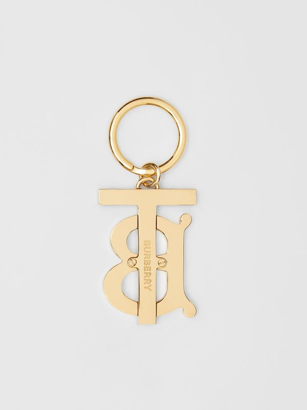 Monogram Motif Gold-plated Key Charm in Black - Women | Burberry - cell image 2