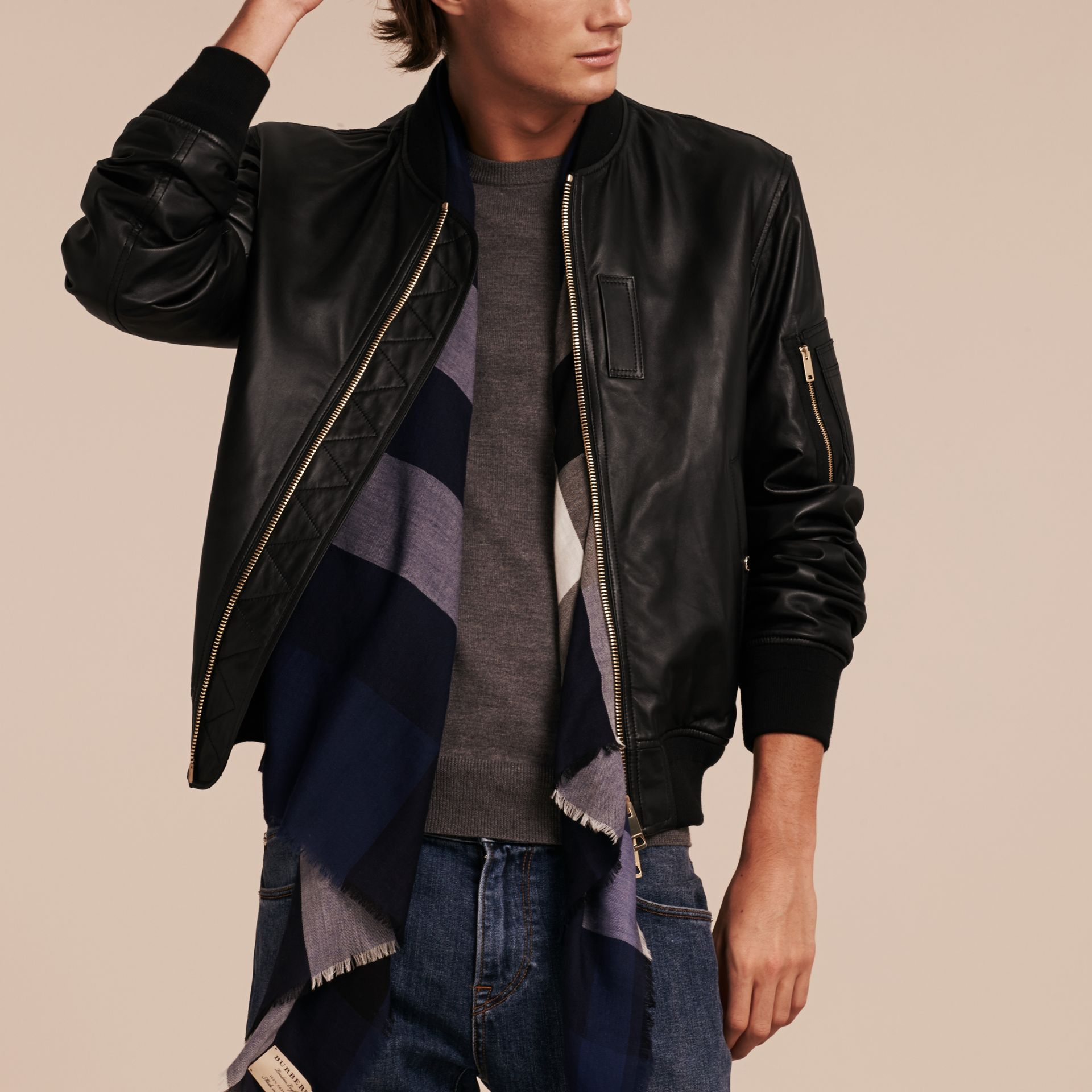 Black Lightweight Lambskin Bomber Jacket Black - gallery image 7
