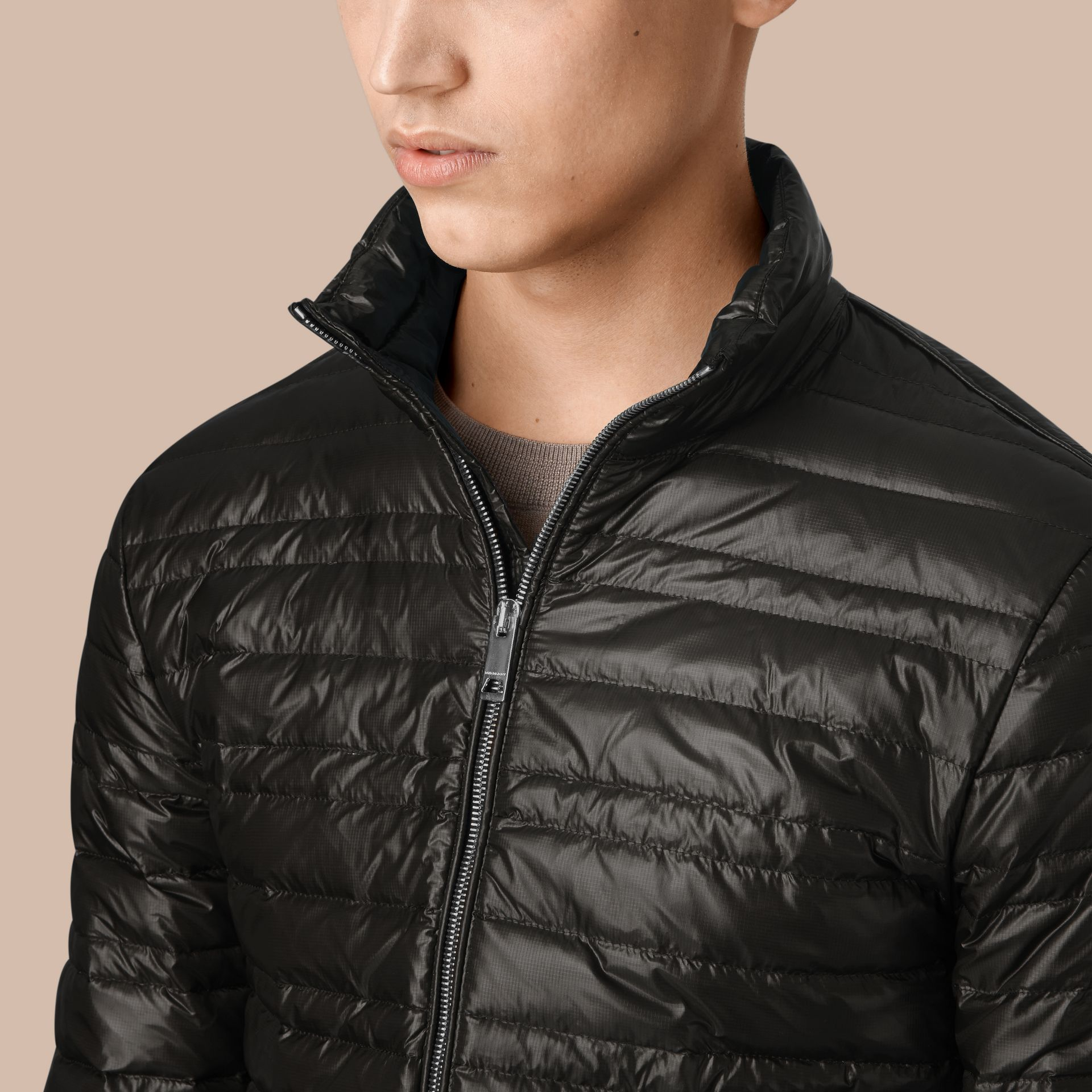 Lightweight Down-filled Jacket in Black - gallery image 4